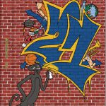 2021 yearbook cover with brick background and a cartoon panther spray-painting the numbers 21