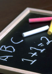 Chalkboard showing ABC and 1+1=2