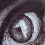Black and white charcoal drawing of an eye in close up.