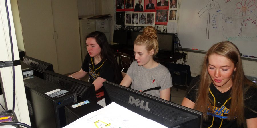 Students sitting behind computers and working