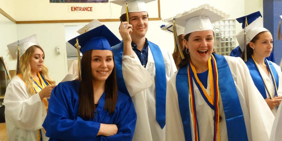 Students gathering before graduation