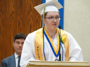 Valedictorian addresses graduation