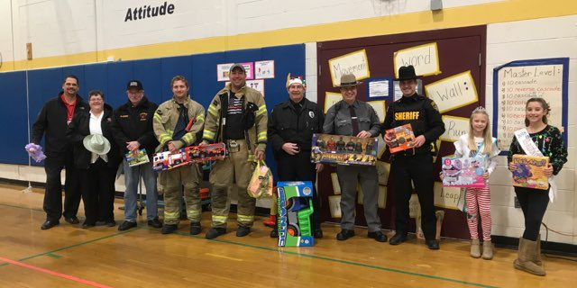 First responders collect toys