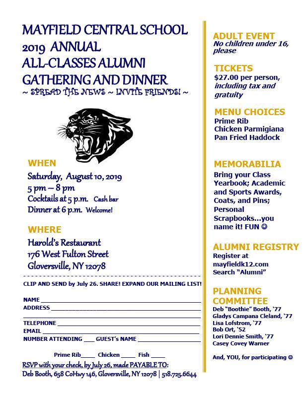 Invitation to annual alumni dinner