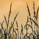 Watercolor painting of wild grass with golden sky.
