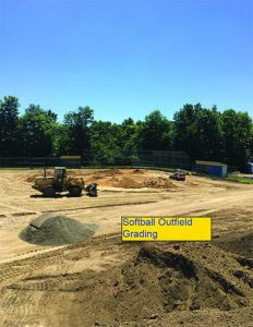 Softball field grading