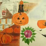 Fall-themed drawing demonstrating various art principles.