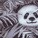 Black and white drawing of a panda surrounded by leaves.