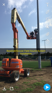 Sound system is installed on the baseball/soccer field