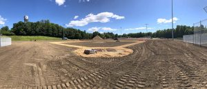 Baseball diamond construction after soil is put down