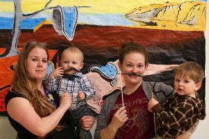 Dressed in mustaches at the coffeehouse