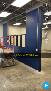 Construction in the high school steam room