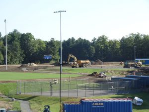 Work on the softball field continues.