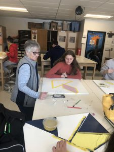 Students working on quilt project