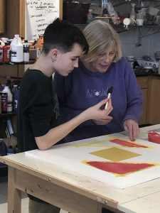 Student selects color for square