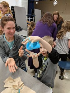 Student and parent create slime project